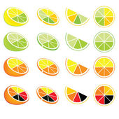 Icônes et logos de citronniers et d'orangers — Vecteur