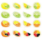 Iconos y logos de limón y naranjas — Vector de stock