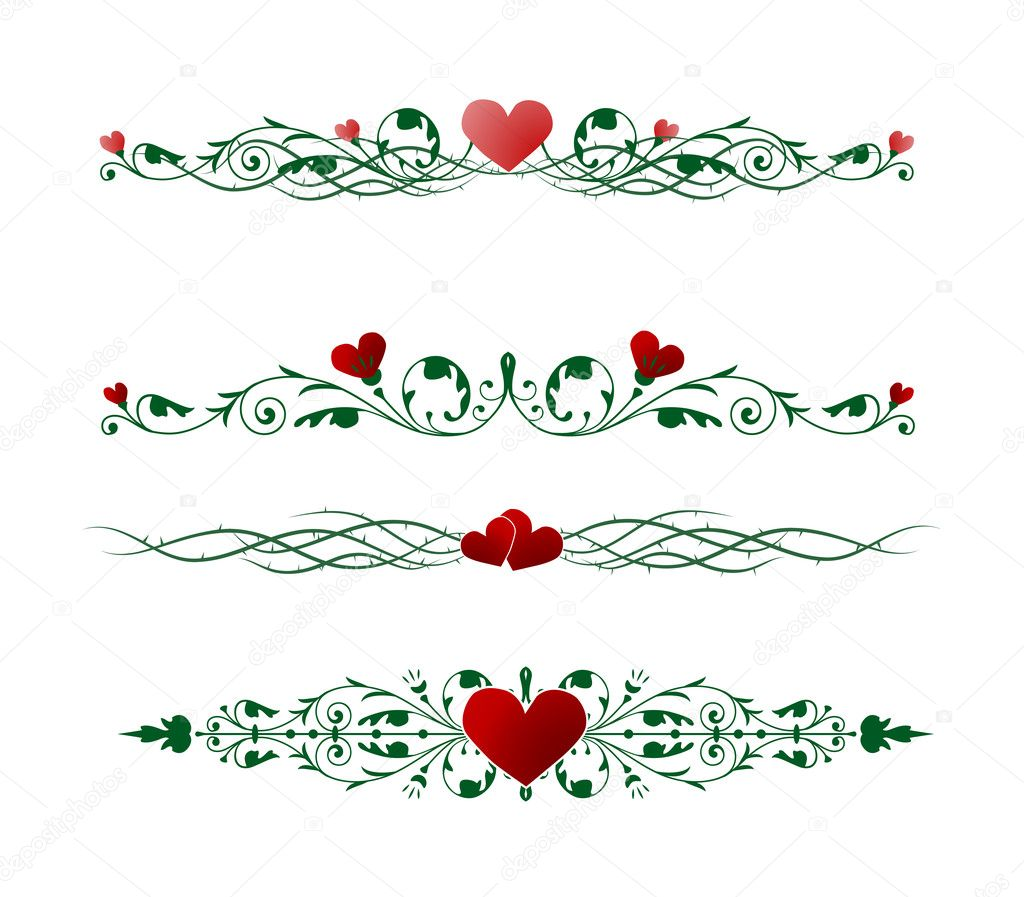 Vector borders with valentine motives — Vettoriali Stock  #2073102