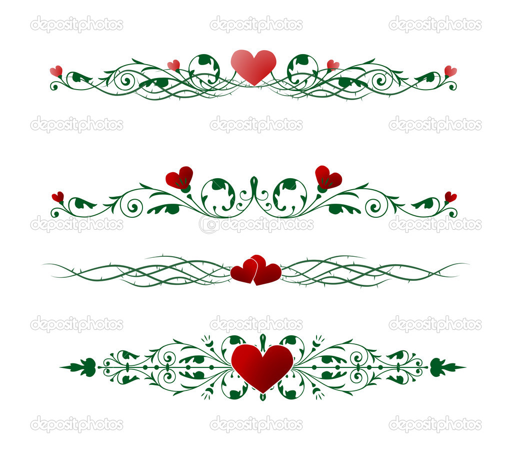 Vector borders with valentine motives — Stok Vektör #2073102