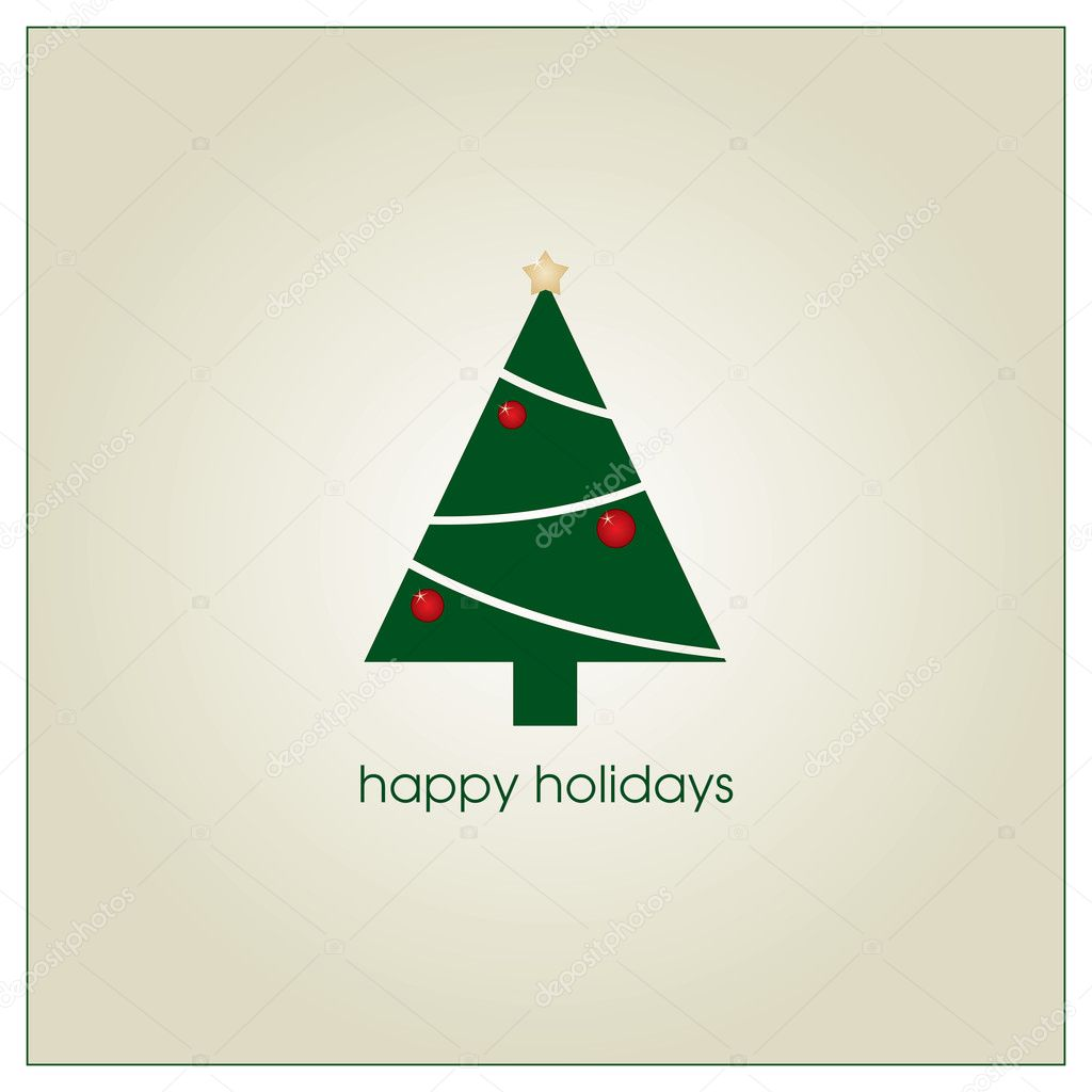 Holiday greeting card with christmas tree — Stock Vector #2073156
