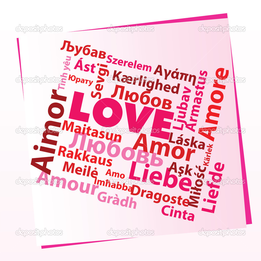 Word love in many different languages in pink and red colors  Stock Vector #2086825