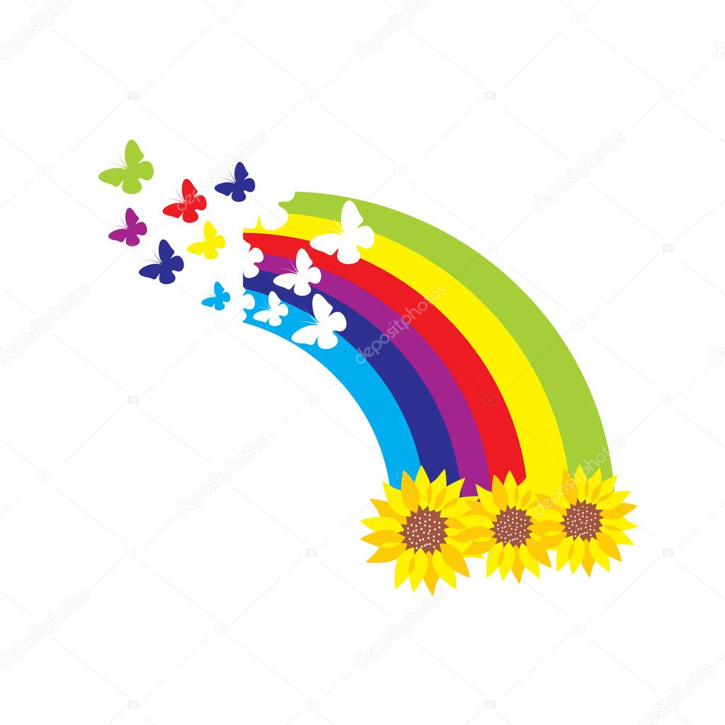 Sunflowers, rainbow and butterflies — Stock Vector #2659349