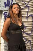 Pretty girl in ghetto — Stock Photo