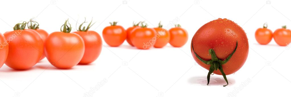 A tomato, posing like the mythical Atlas, isolated on white — Stock Photo #1971808