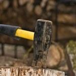 Axe splitting wood — Stock Photo #2038323