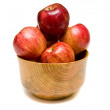 Red Apples in Wood Bowl — Stock Photo