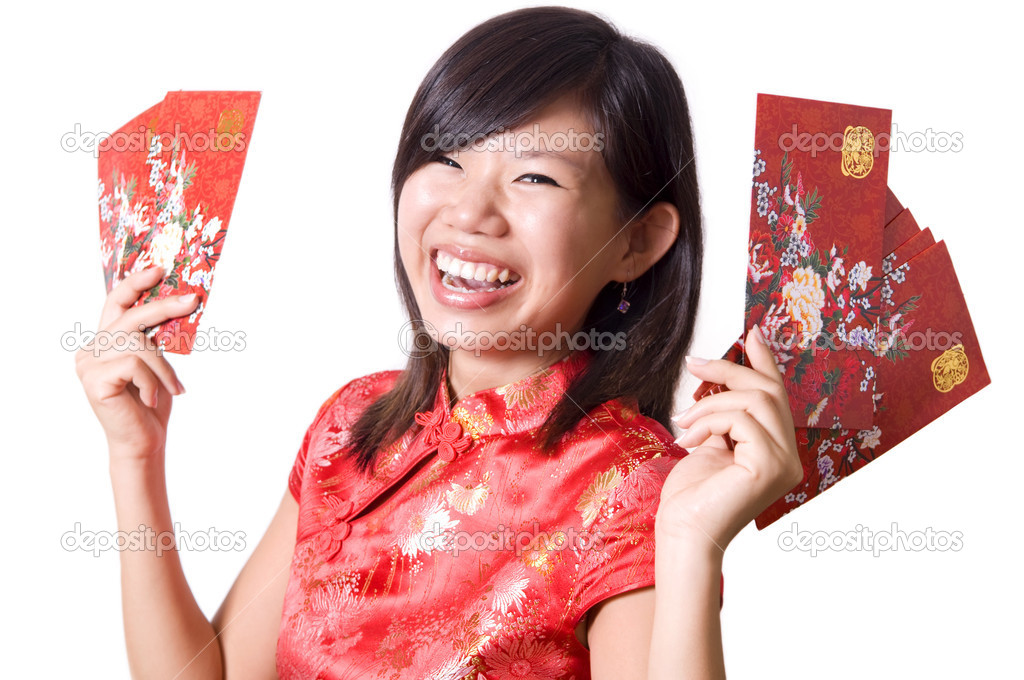 Happy oriental girl with cheongsam wishing you a happy Chinese New Year.  — Stock Photo #2347362
