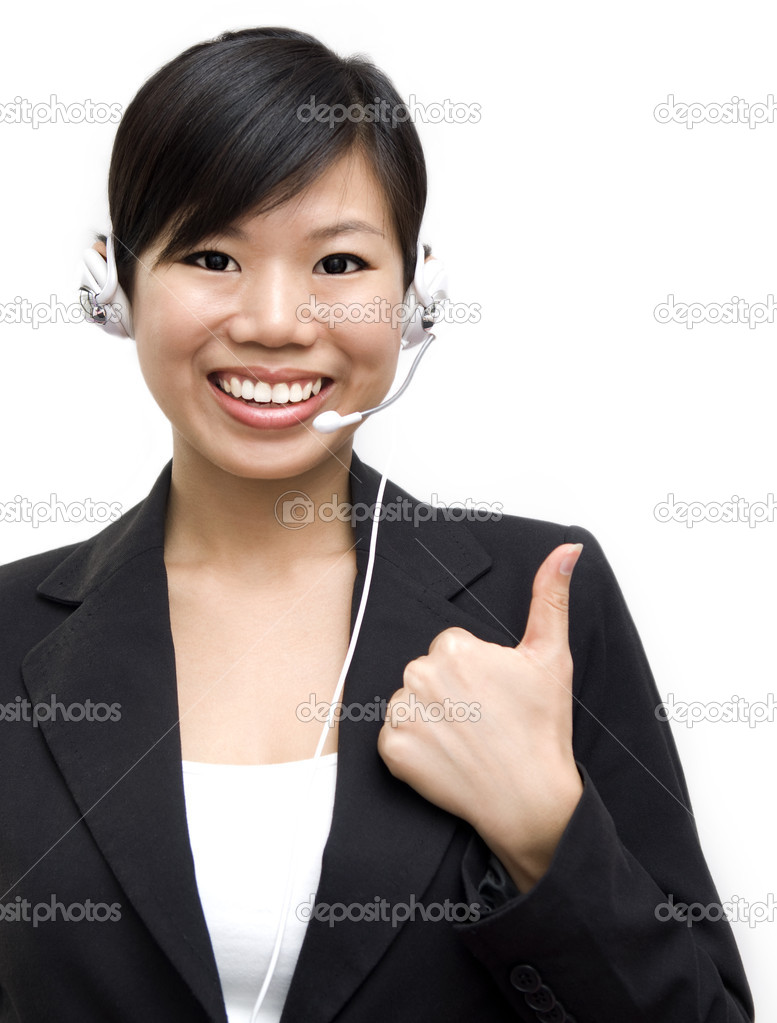 Thumb up Friendly Customer Representative with headset  — Stock Photo #2360858