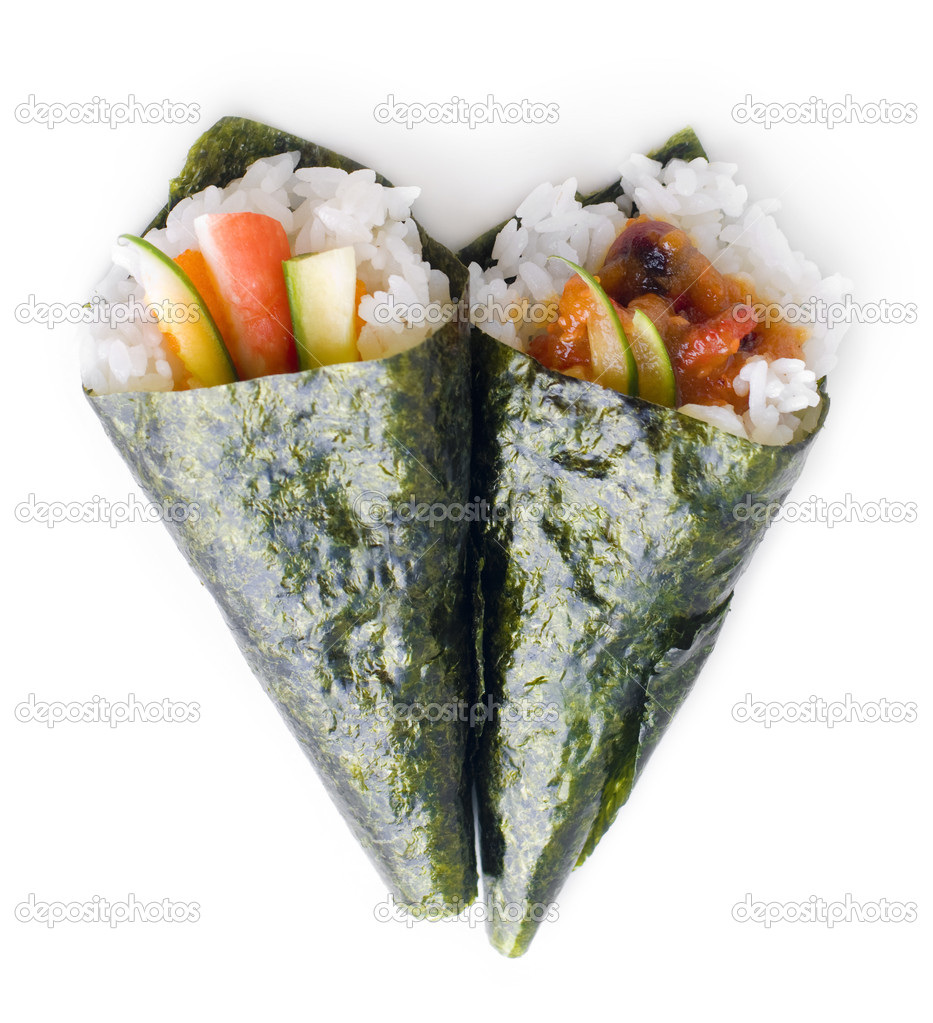 Hand rolled temaki sushi. — Stock Photo © szefei #2365825