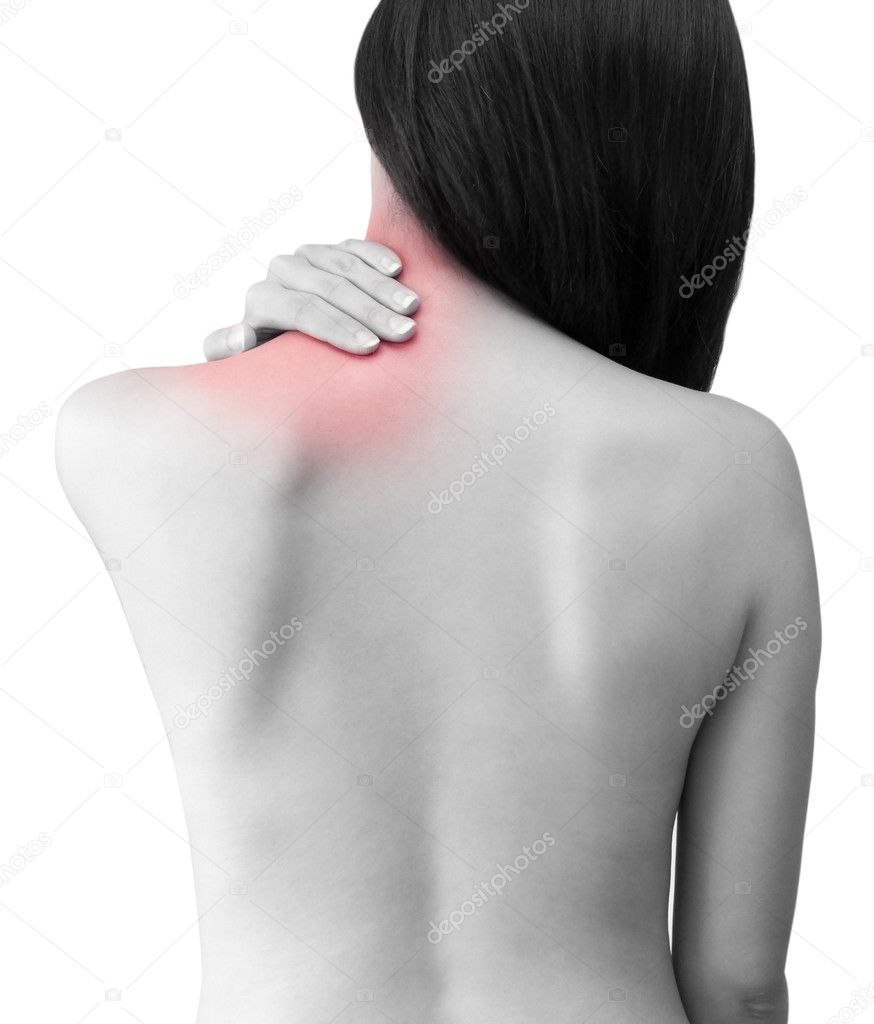 Woman with backache from behind, naked body.  Stock Photo #2375059