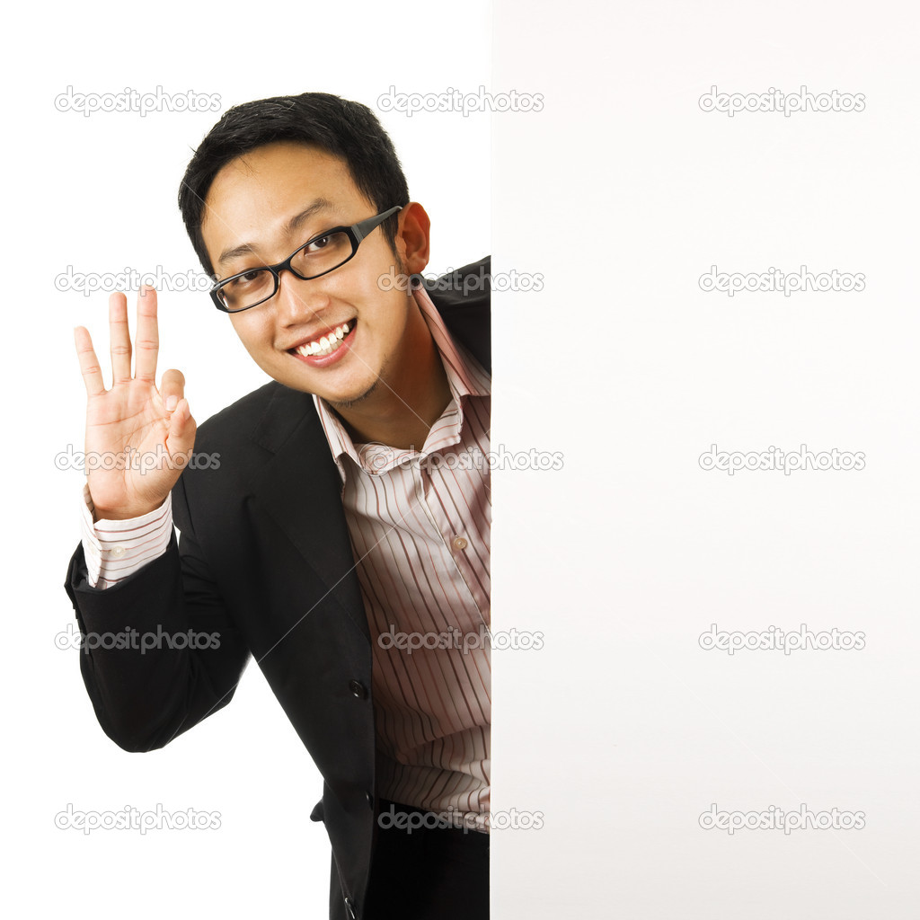 Executive male showing OK hand sign  — Stock Photo #2375912