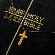 A golden cross on the top of  the bible — Stock Photo