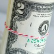 A strap of United States $2 bills — Stock Photo