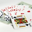 Gamble with playing cards and two dices — Stok fotoğraf
