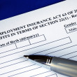 Unemployment insurance application — Stockfoto