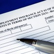Stock Photo: Unemployment insurance application