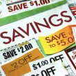 Cut up some coupons to save money — 图库照片