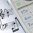 The music sheet represents the ring tone - Stok fotoğraf