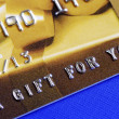 "Stock Photo: ""Gift For You"" from golden gift card"