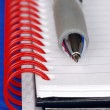 A pen and a notebook with red binder — Stock Photo