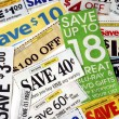 Cut up some coupons to save money — Stock Photo