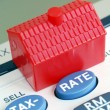 Stock Photo: Calculate mortgage rate and tax