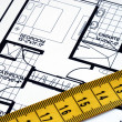 Measure the floorplan — Stock Photo