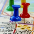 Color pins nailed in the NYC map — Stock Photo