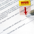 Sign your name here on the contract — Stock Photo