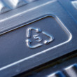 Recycle sign number 5 on a plastic box — Stockfoto