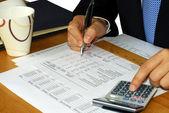 检查在财务报表的说明 — 图库照片