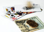 Gambling with the playing cards — Stockfoto