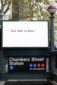 Bir tren istasyonunda billboard — Stok fotoğraf