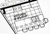 A floor plan focused on the kitchen — Stock Photo