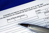 Unemployment insurance application — Stock Photo