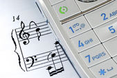 The music sheet represents the ring tone — Stock Photo