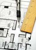Drawing the floorplan — Stock Photo
