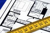 Measure the floorplan — Stock Photo