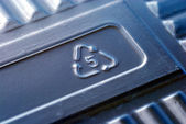 Recycle sign number 5 on a plastic box — Stock Photo