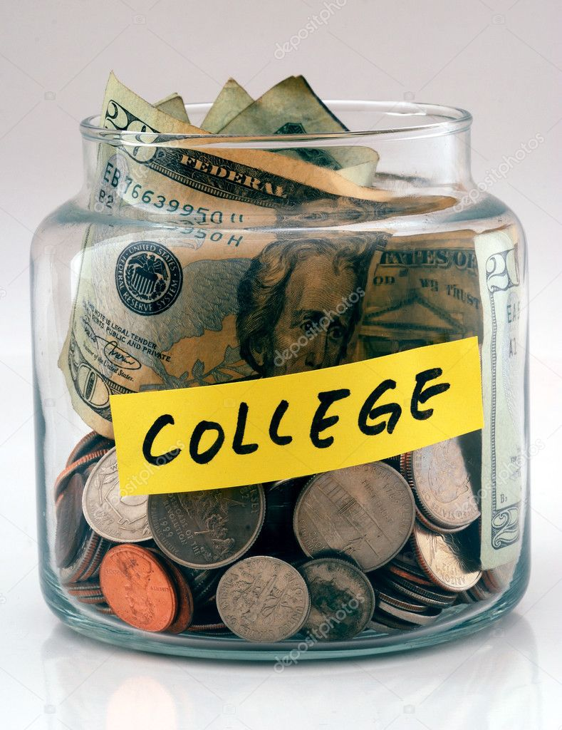 "A lot of money in a glass bottle labeled ""College"" — Stock Photo #2016094"