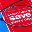 Stock Photo: Focus on learning how to save money