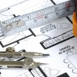 Prepares the architectural floorplan — Stock Photo