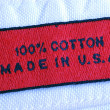 Stock Photo: Close up view of the clothing label