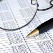 Check the numbers on the spreadsheet - Stock Photo