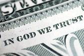 En dieu nous avons confiance depuis le billet d'un dollar — Photo