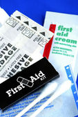 List of items in a First Aid Kit — Stock Photo