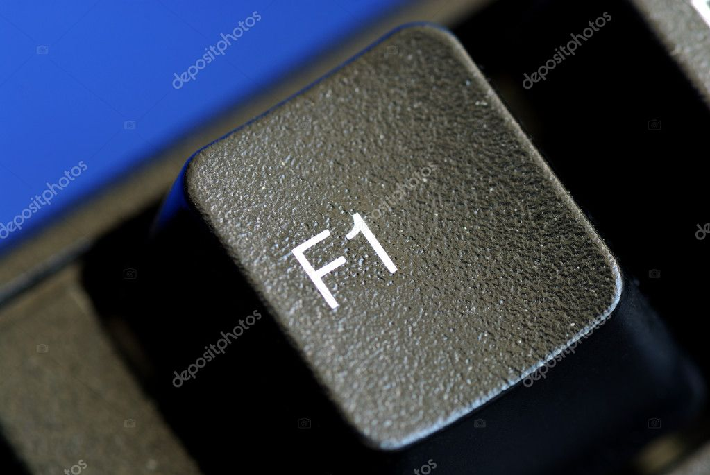 The F1 key represents Help or Assistance isolated on blue — Stock Photo #2020628