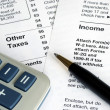 Stok fotoğraf: Filing the income tax return by hand
