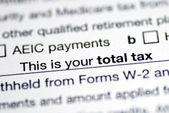 Focus on the total tax in the tax return — Stock Photo